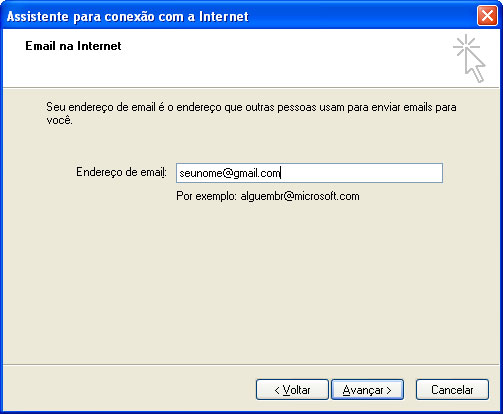 Gmail-Adicionada conta no Outlook Express