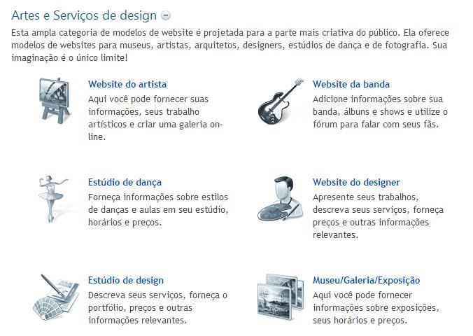 Modelos de sites de Artes e Serviços de design