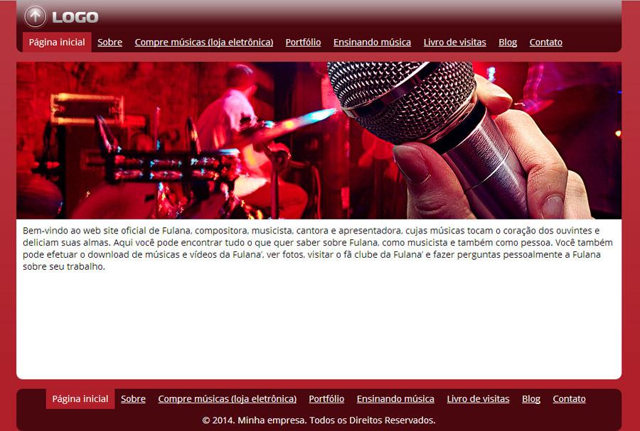 Modelo de site para Website do músico ou cantor