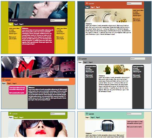 Modelos de sites para Website do músico ou cantor