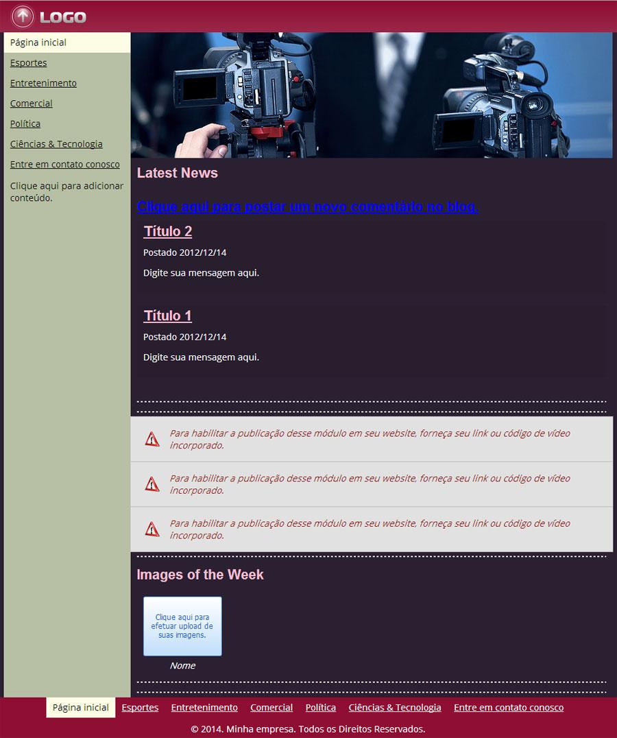 Modelo de site de Notícias ou Jornal