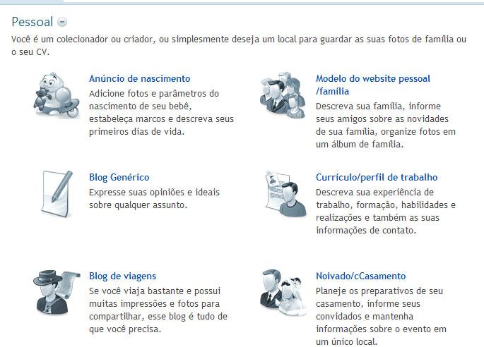 Modelo de site Pessoal