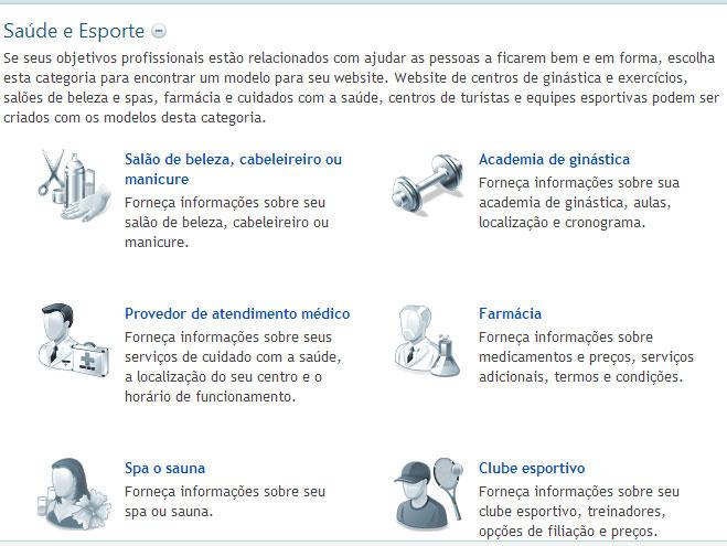 Modelos de Sites de Saúde e Esportes