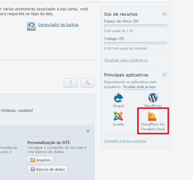 Clique no Ícone da CloudFlare