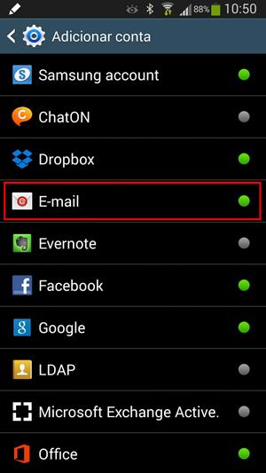 Adicionar conta de email no Android