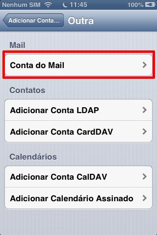 Clique em Conta do Mail no iOS