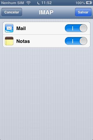 Opções de Sincronismo IMAP no iOS