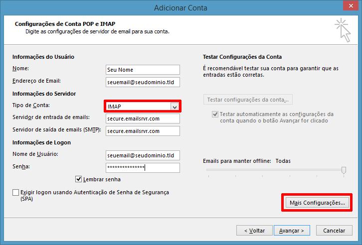 Informações da conta IMAP no Outlook 2013