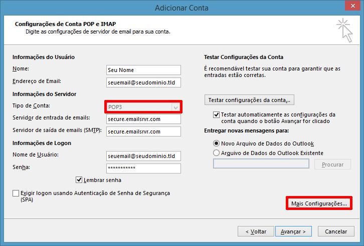 Informações da conta POP3 no Outlook 2013