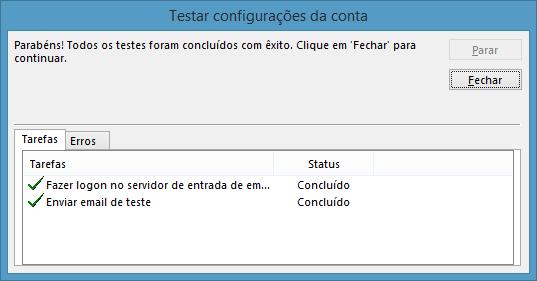 Teste de conexão da conta de Email no Outlook 2013