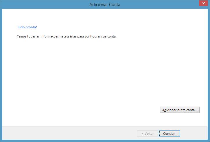 Confirmação da configuração no Outlook 2013