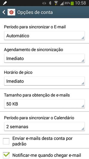 Opções de configuração de Email no Android