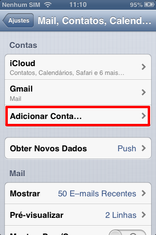 Adicionar conta no iPhone ou iPad