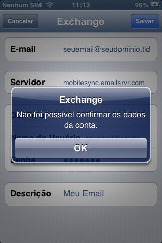 Confirme configuração da conta Microsoft Exchange