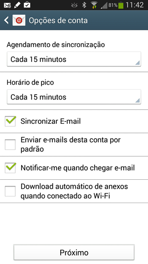 Opções de conta IMAP no Android