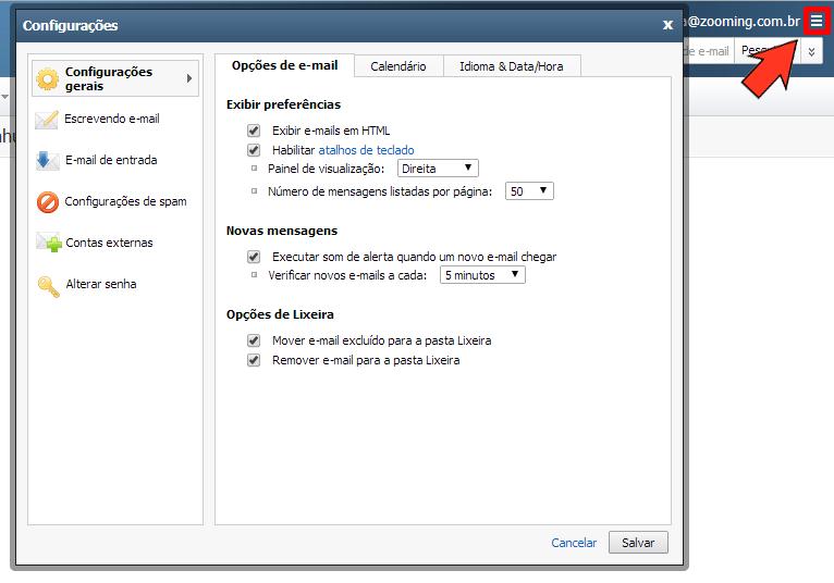 Configurações do Webmail Premium