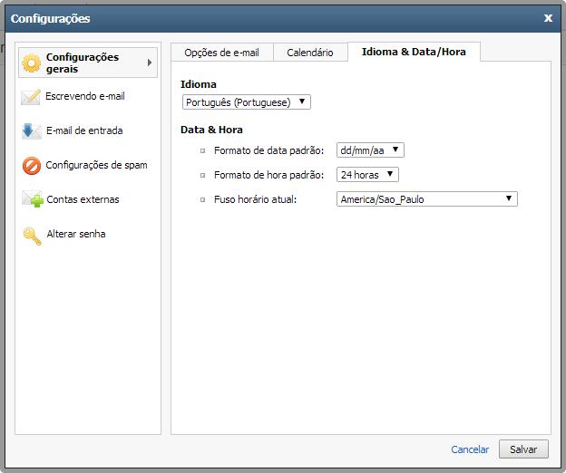 Configurações de Idioma, Data e Hora do Webmail Premium