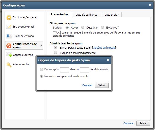 Limpeza de Spam no Webmail Premium