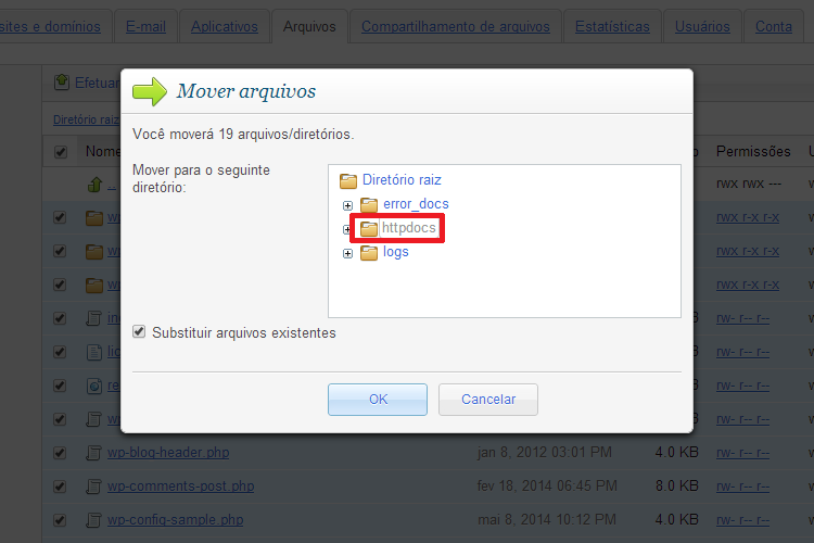 Mover Arquivos do WordPress Para a Pasta Raiz