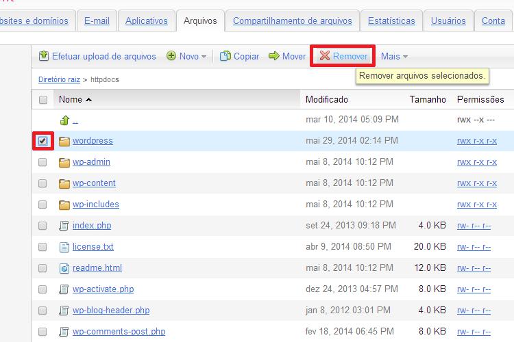 Remover a Pasta Vazia dos Arquivos do WordPress