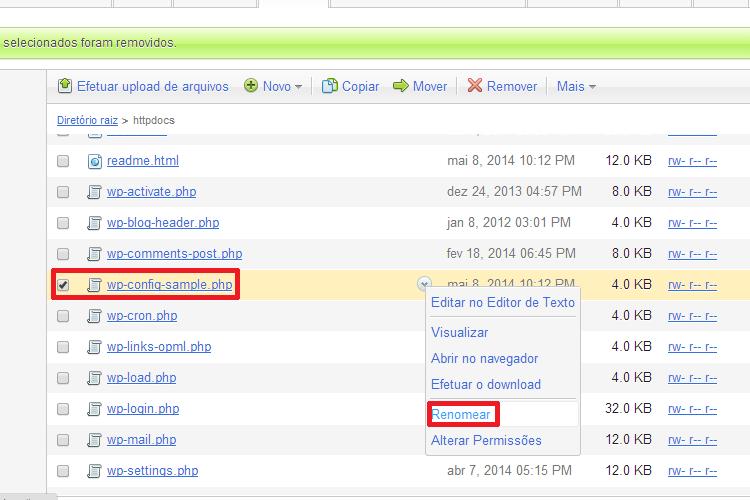 Renomear o Arquivo wp-config-sample.php