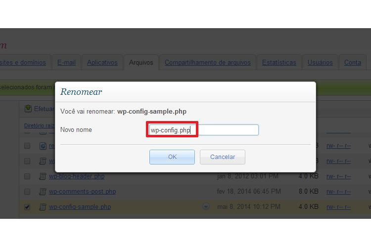 Renomear Arquivo Para wp-config.php