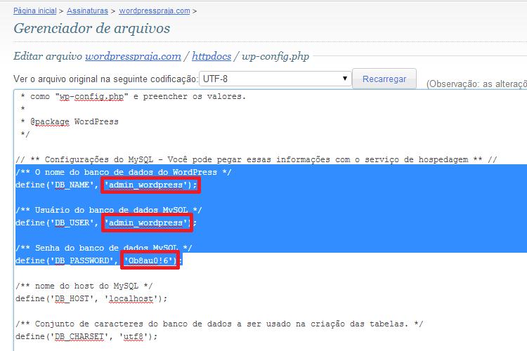 Dados de Conexão do Banco de Dados do WordPress