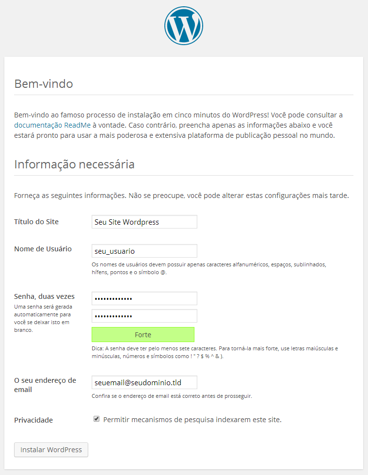 Configuração Inicial do WordPress