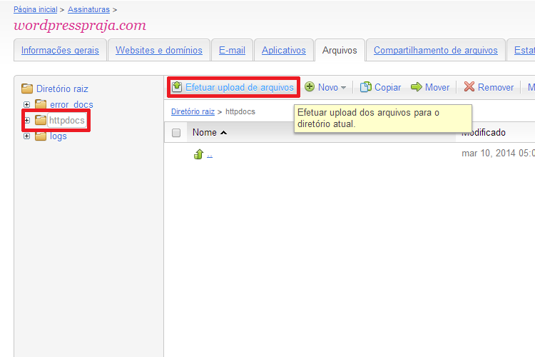 Upload do Arquivo Compactado do WordPress