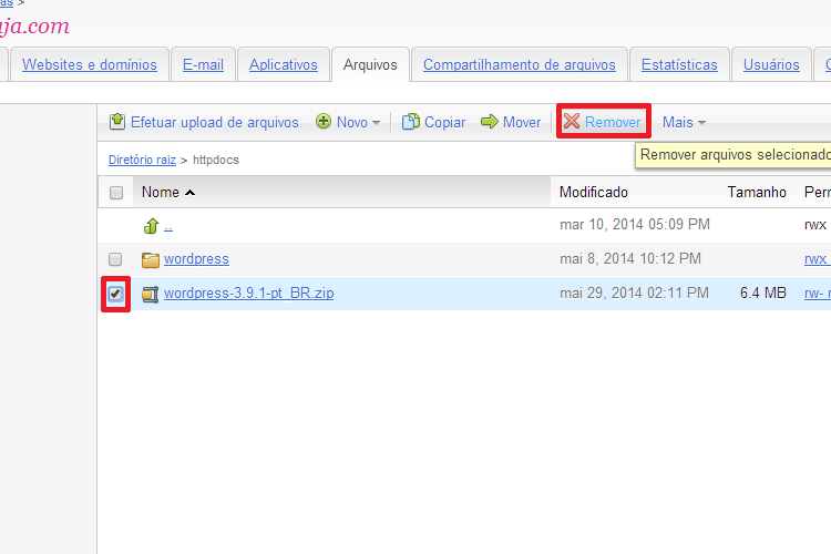 Remover Arquivo Compactado do WordPress