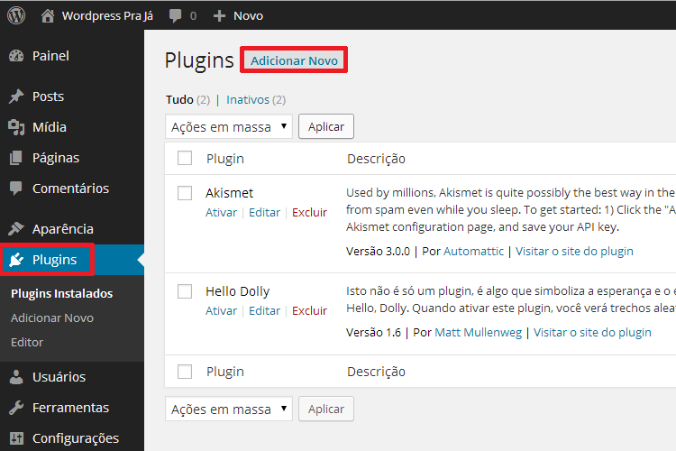 Instalar Plugin no WordPress