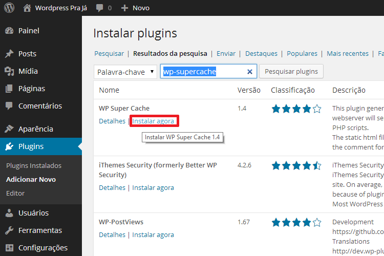 Instalar o Plugin WP Super Cache no WordPress