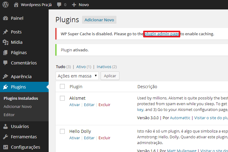 Configuração do Plugin WP Super Cache no WordPress