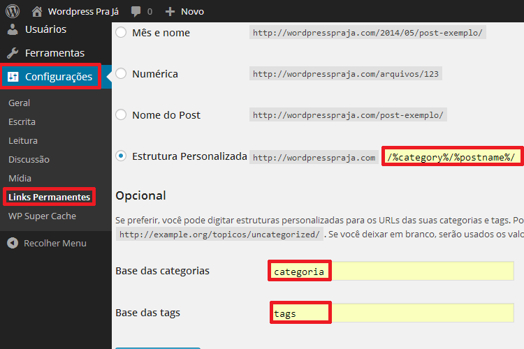 Configurar Links Permanentes no WordPress