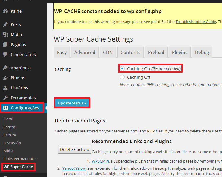 Ligando o Cache do WP Super Cache no WordPress