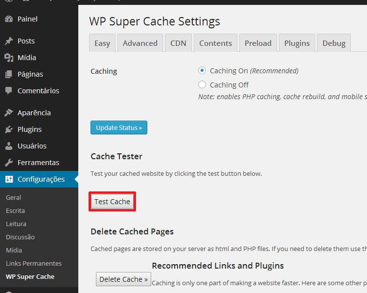 Teste o Cache do WP Super Cache no Seu WordPress