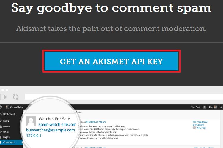 Obter uma nova chave para o Akismet