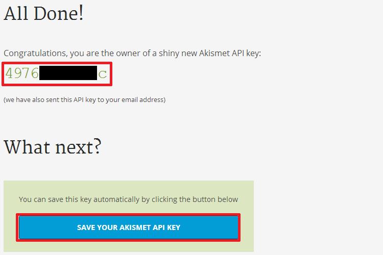 Sua chave do Akismet