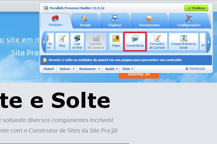 Construtor de Sites - Adicionar Comentários