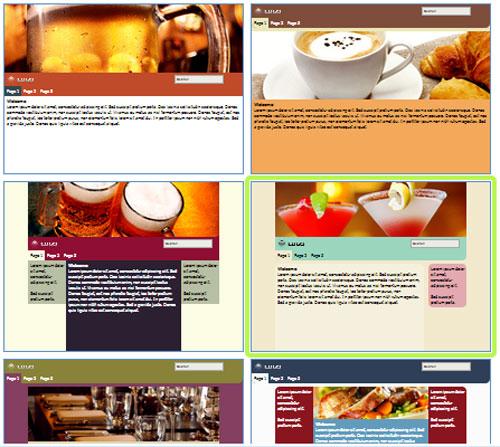 Modelos de sites de Café ou Bar