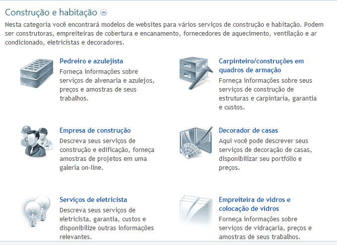Modelos de sites de Construção e Habitação