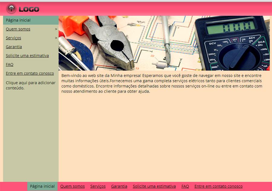 Modelo de site de Eletricistas