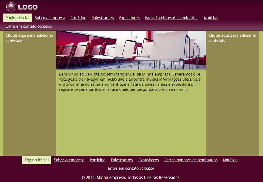 Modelo de site de Seminário/Convenção/Feira
