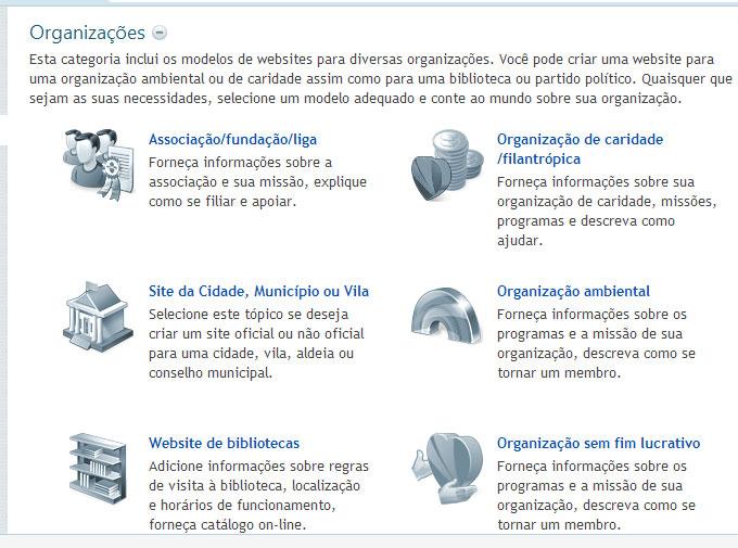Modelos de sites de organizações