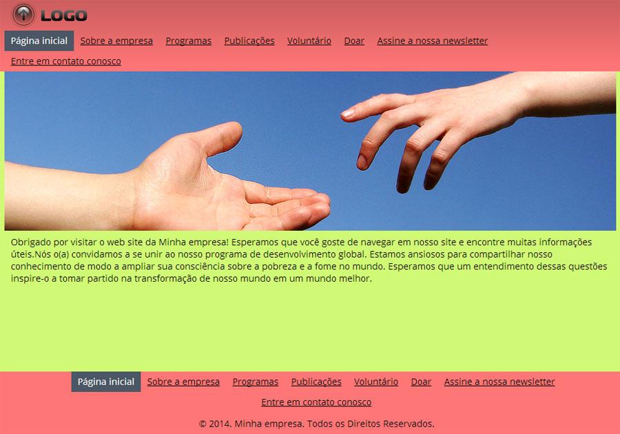 Modelo de site de Organização sem fins lucrativos
