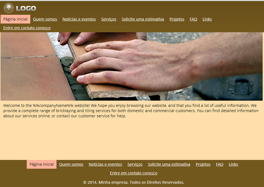 Modelo de site de Pedreiro e Azulejista