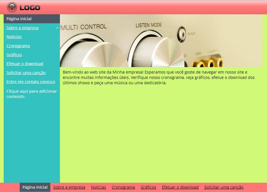 Modelo de site de Estação de rádio comunitária/Universidade/Internet