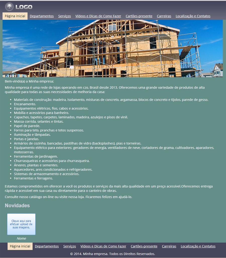 Modelo de site de loja de materiais para construção e reforma