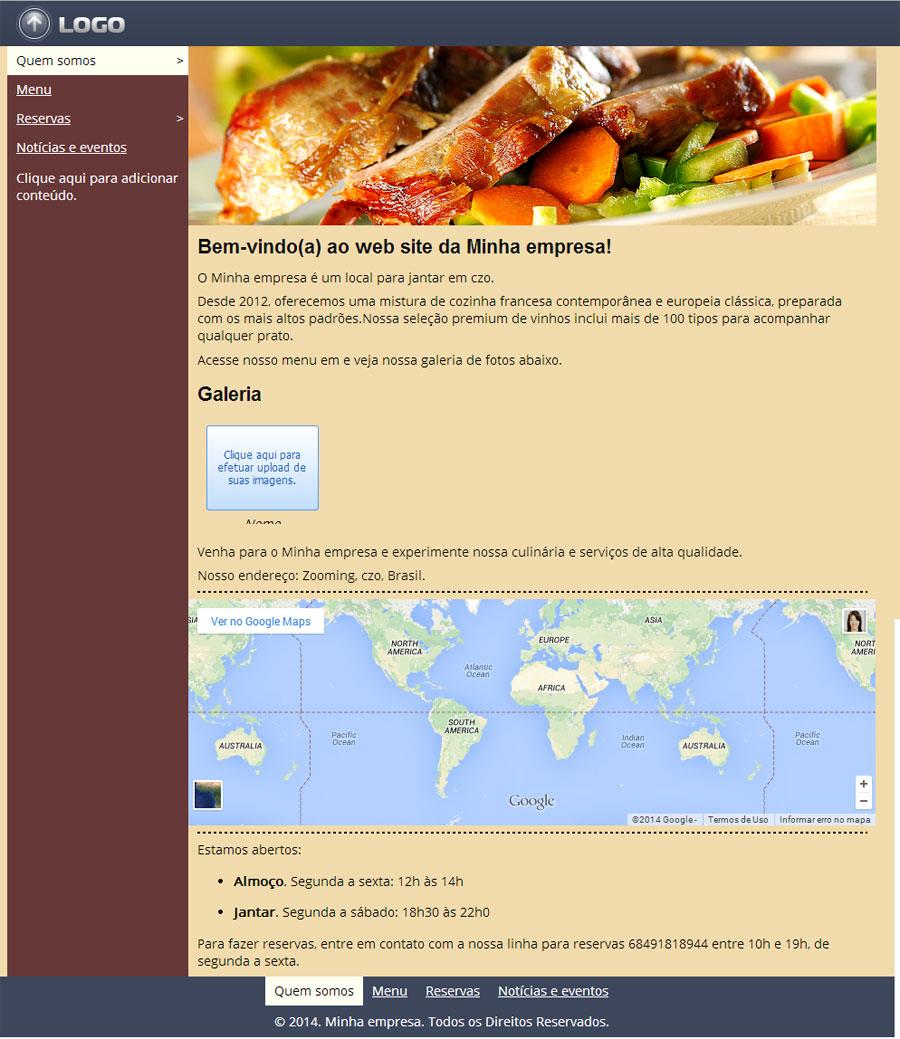 Modelo de site de Restaurante