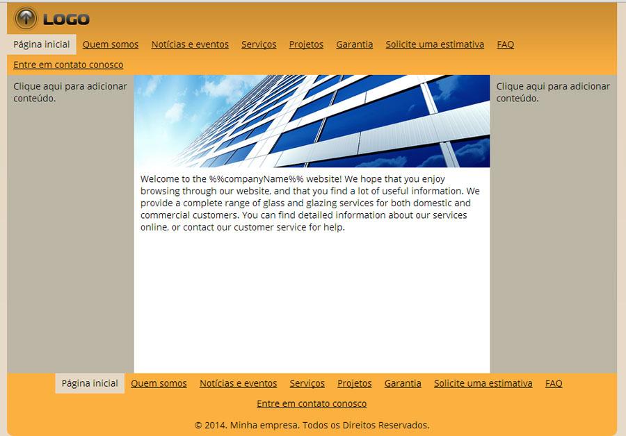 Modelo de site de Empreiteira de vidros e colocação de vidros